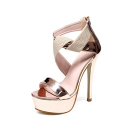 Shoespie Sexy Stiletto Heel Zipper Open Toe Plain Sandals