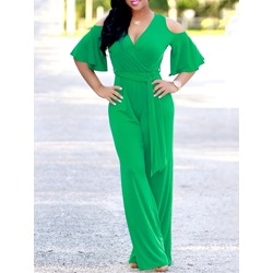 Casual Green Cold Shoulder V-Neck Lace-Up Loose Women's Jumpsuit