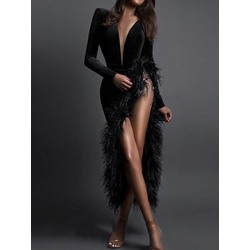 Sexy Elegant Asymmetric Feather V-Neck Women's Dress