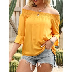 Flare Sleeve Off Shoulder Casual Women's Blouse