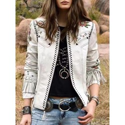 Tassel Slim Long Sleeve Lapel Women's Jacket
