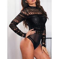 Sexy Black Hollow Mesh Patchwork Skinny Women's Romper