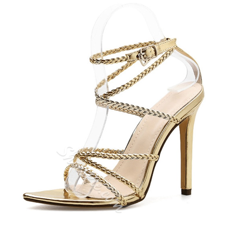 Shoespie Sexy Line-Style Buckle Stiletto Heel Pointed Toe Woven Sandals