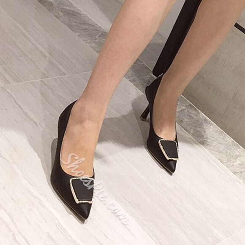 Shoespie Stylish Stiletto Heel Pointed Toe Thread Casual Thin Shoes