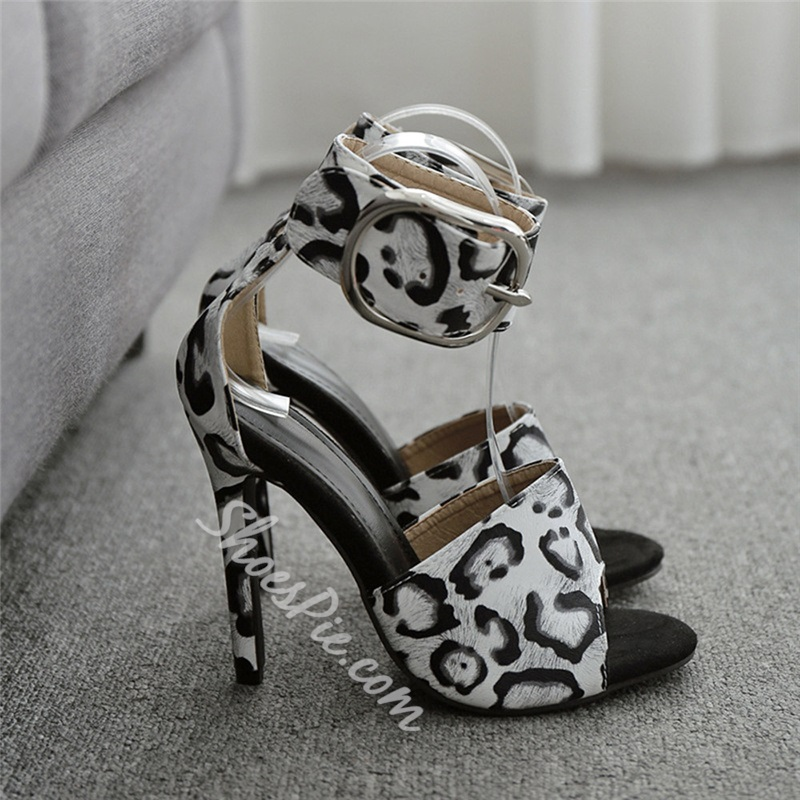 Shoespie Trendy Peep Toe Line-Style Buckle Stiletto Heel Leopard Sandals