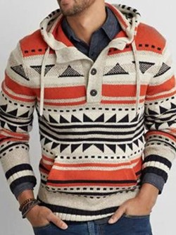 Pocket Color Block Hooded Slim Casual Sweater