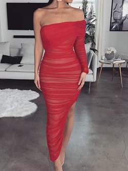 Red Pleated Strapless One Sleeve Split Bodycon Cocktail Women's Dress