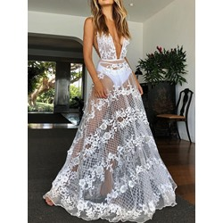 Sexy Sweet V-Neck Sleeveless See-Through Lace Party Women's Dress