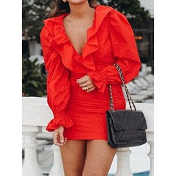 Sweet Red Falbala Flare Sleeve V-Neck Pleated Bodycon Women's Dress
