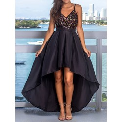 Sexy Sleeveless Spaghetti Strap V-Neck Sequins Asymmetrical Women's Dress