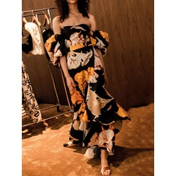 Sweet Vintage Floral Print Off Shoulder Floor-Length A-Line Women's Dress
