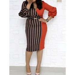 Plus Size Patchwork V-Neck Three-Quarter Sleeve Bodycon Women's Dress