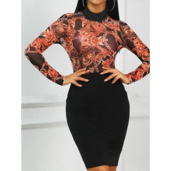 Stylish Print Party Patchwork Stand Collar Long Sleeve Women's Dress