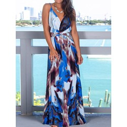Blue Print Sleeveless Spaghetti Strap V-Neck Floor-Length Women's Dress