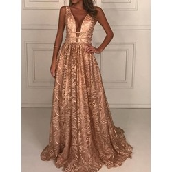 Golden V-neck Print Sleeveless Floor-Length A-Line Cocktail Women's Dress