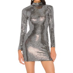 Stylish Silver Stand Collar Sequins Backless Bodycon Women's Dress