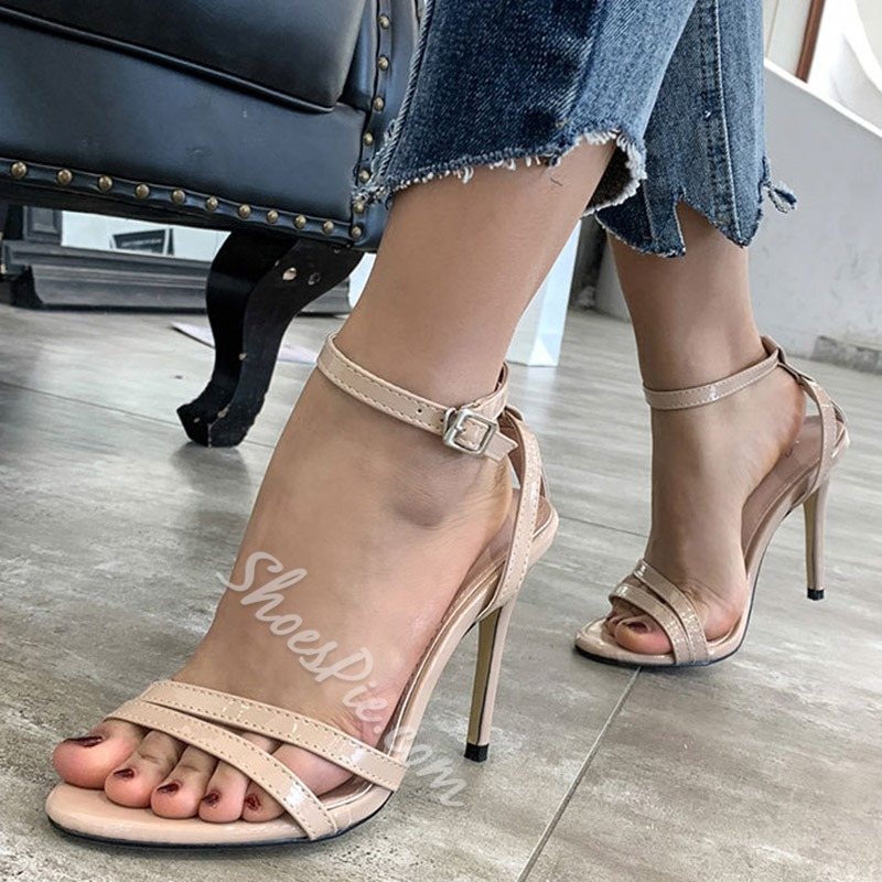 Shoespie Sexy Stiletto Heel Line-Style Buckle Open Toe Casual Sandals
