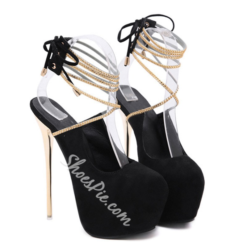 Shoespie Sexy Round Toe Lace-Up Stiletto Heel Casual Sandals