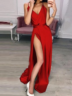 Concise Red Spaghetti Strap V-Neck Floor-Length Split Sleeveless Women's Dress
