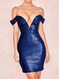 Sexy Sequins V-Neck Off Shoulder Party Bodycon Women's Dress