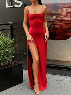 Sexy Red Spaghetti Strap Split Sleeveless Floor-Length Bodycon Women's Dress
