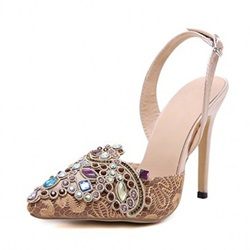 Shoespie Stylish Pointed Toe Stiletto Heel Slip-On Rhinestone Sandals