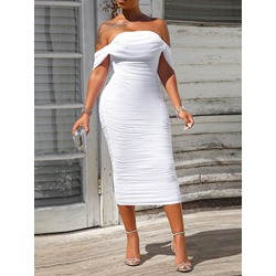 Elegant White Pleated Off Shoulder Mid Waist Bodycon Women's Dress