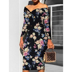 Elegant Vintage Black Long Sleeve Floral Print V-Neck Women's Dress