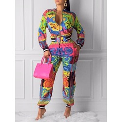 Long Sleeve Zipper Jacket Casual Print Women's Two Piece Sets