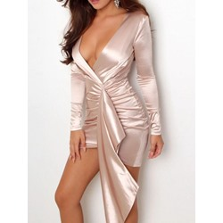 Elegant Sexy Pleated V-Neck Bodycon Asymmetric Women's Dress
