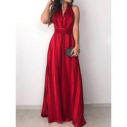 Elegant Sleeveless V-Neck Floor-Length High Waist Women's Dress