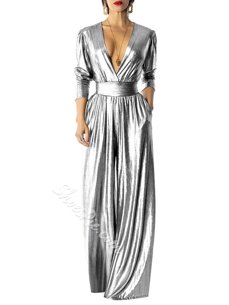 Elegant V-Neck Full Length Fashion Loose Women's Jumpsuit