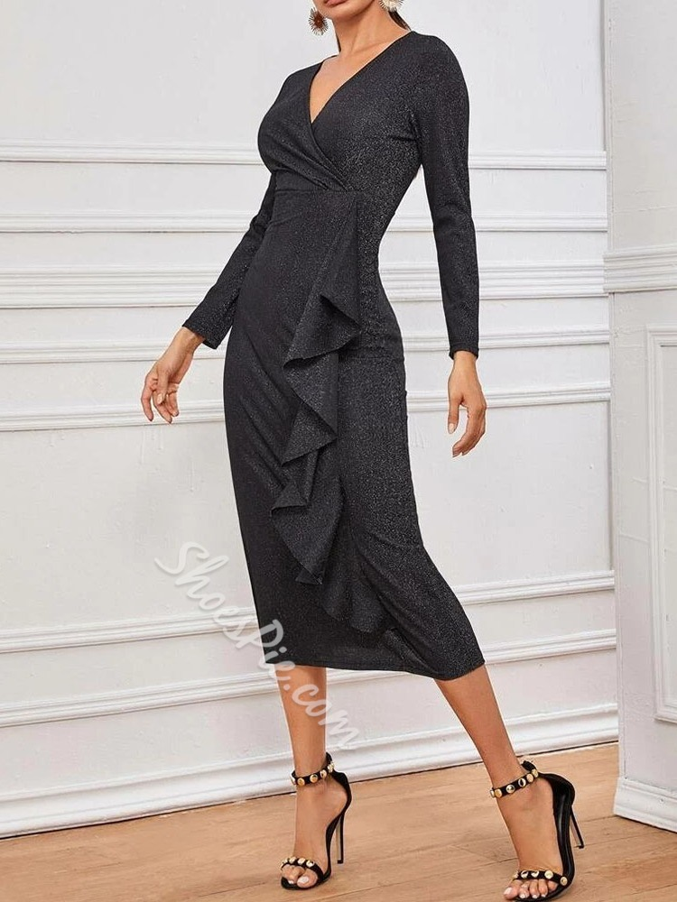 Black V-Neck Stringy Selvedge High Waist Women's Dress