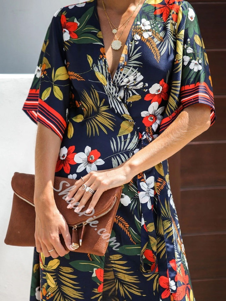 Casual Half Sleeve Lace-Up V-Neck Floral Print High Waist Women's Dress
