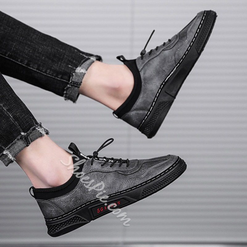 Shoespie Lace-Up Platform Low-Cut Upper Round Toe Skate Shoes