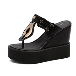 Shoespie Trendy Thong Wedge Heel Slip-On Western Slippers