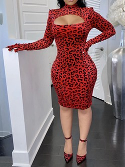 Sexy Leopard Print Long Sleeve Turtleneck Cocktail Bodycon Women's Dress
