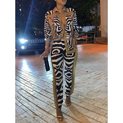 Stylish Long Sleeve Lapel Blouse Zebra-Stripe Print Pants Women's Two Piece Sets