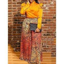 Stylish Loose Zebra Stripe Print Color Block Full Length Women's Casual Pants