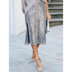 Ladylike Silver Sequins Split A-Line Loose Women's Skirt