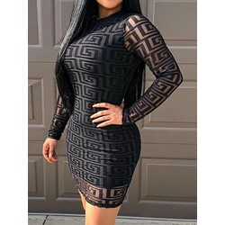 Black Stand Collar Above Knee Mesh Long Sleeve Pullover Women's Dress