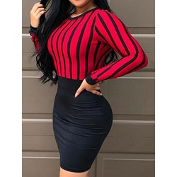 Casual Patchwork Stripe Round Neck Backless Bodycon Women's Dress