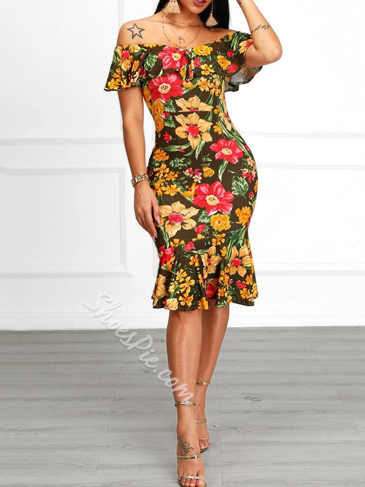 Sexy Yellow Floral Print Knee-Length Off Shoulder Mermaid Women's Dress