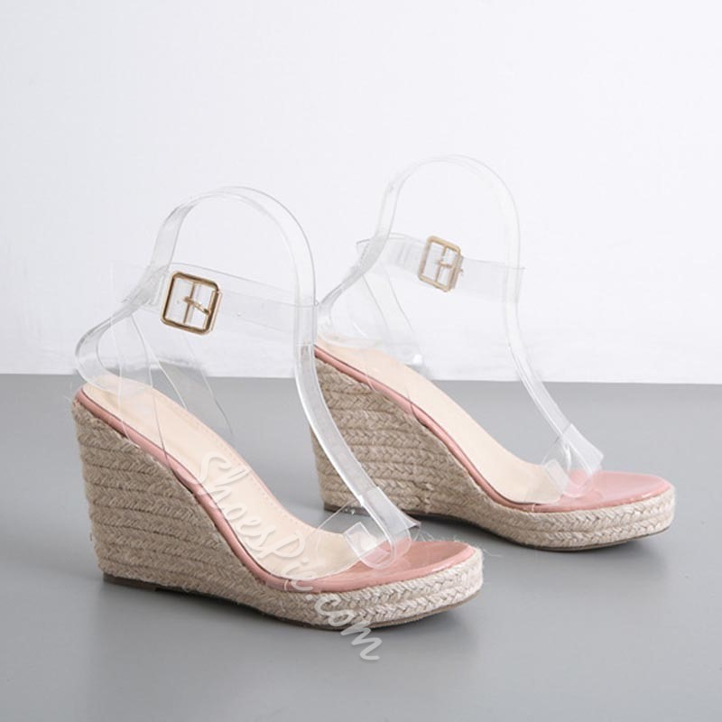Shoespie Stylish Buckle Wedge Heel Open Toe Casual Sandals