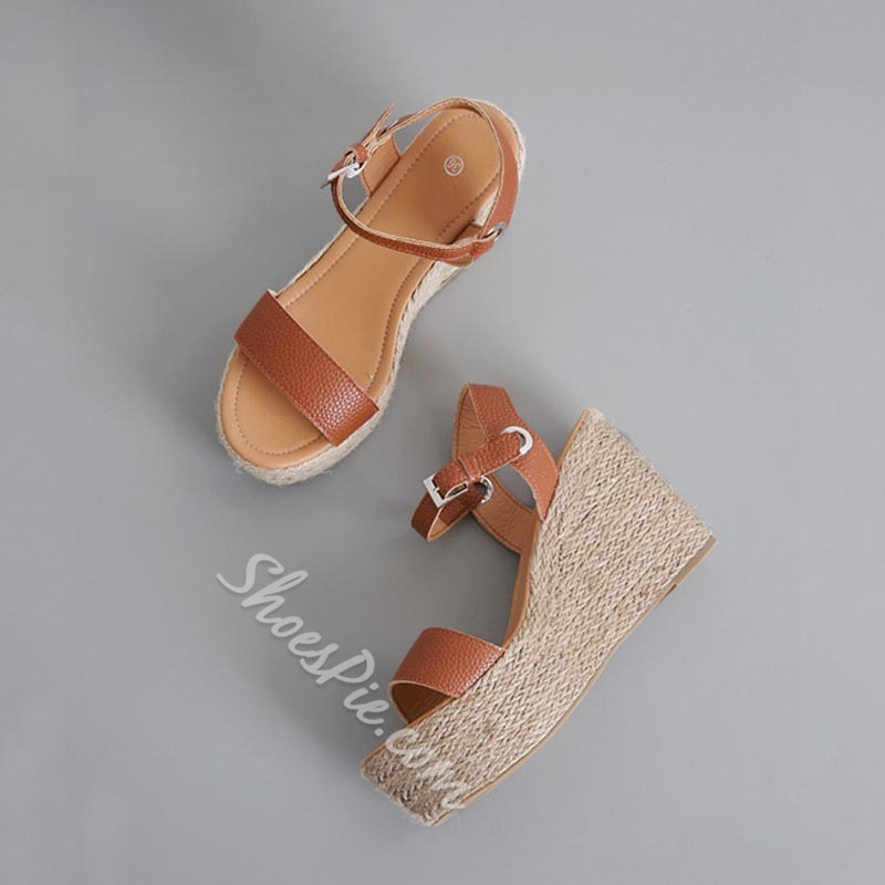 Shoespie Sexy Buckle Open Toe Wedge Heel Casual Sandals