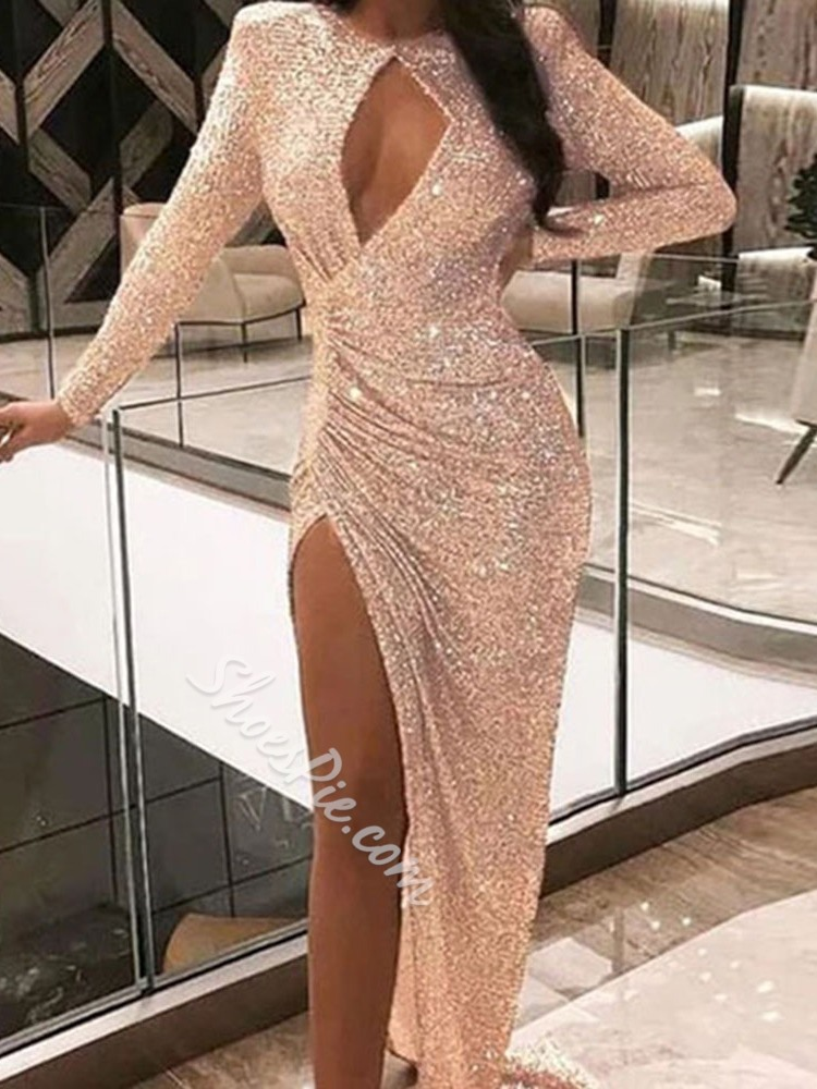 Pink Sexy Hollow Split Sequins Floor-Length Long Sleeve Women's Dress