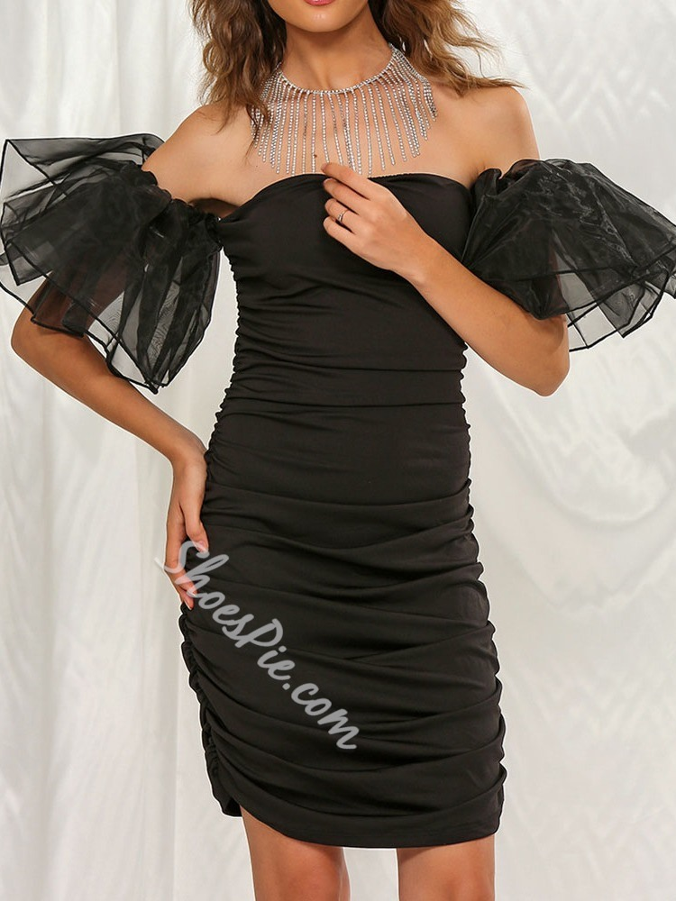 Black Elegant Petal Sleeve Pleated Off Shoulder Bodycon Women's Dress