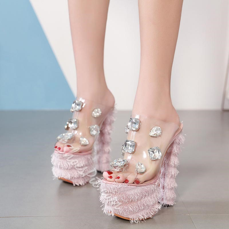 Shoespie Sexy Chunky Heel Slip-On Compound Slippers