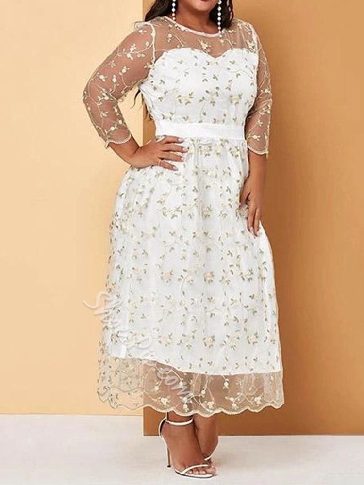 Plus Size Sweet Lace Mesh Round Neck Embroidery Party Women's Dress
