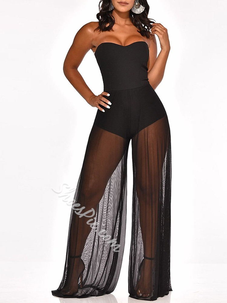 Black Strapless Mesh Full Length Wide Legs Women's Jumpsuit